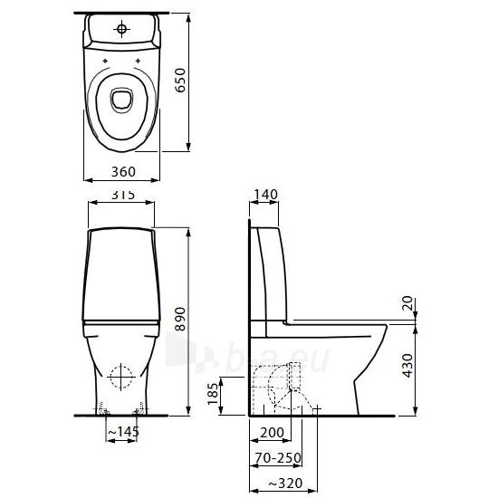 Toilet Laufen PRO NORDICS horizontal Paveikslėlis 5 iš 6 270713000735