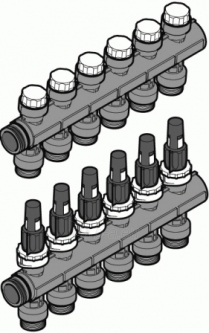 Kolektorius UPONOR Pro, 3 kontūrų, su rotametrais Paveikslėlis 1 iš 1 270301000077