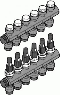 Kolektorius UPONOR Pro, 6 kontūrų, su rotametrais Paveikslėlis 1 iš 1 270301000081