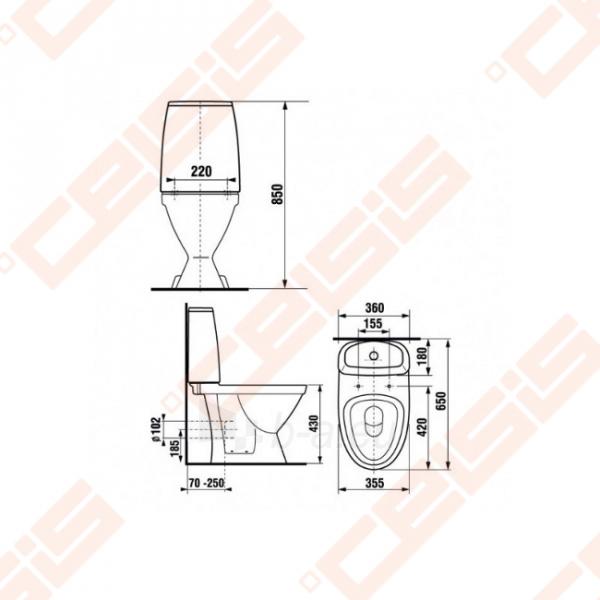 Kombinuotas actable toilet JIKA Lyra Plus Scandia horizontal trap, lower vandens input Paveikslėlis 2 iš 2 270713001087