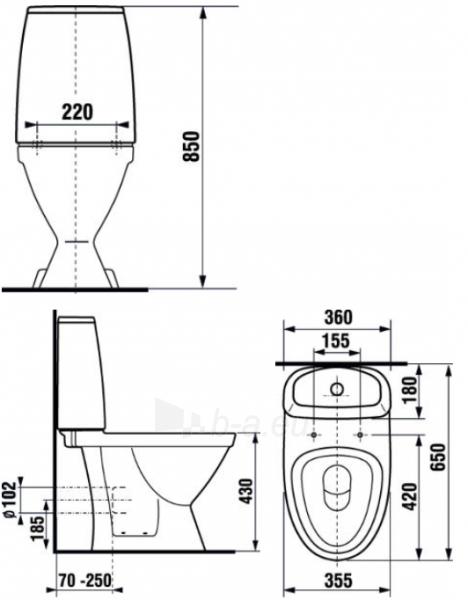 Kombinuotas unitazas Scandia 44 cm, horizontal trap, 5/3 ltr., vandens introduction apačioje, dešinėje pusėje, baltas Paveikslėlis 2 iš 2 310820165638