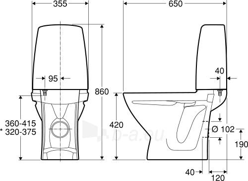 Kombinuotas unitazas SIGN, horizontal, 2/4 ltr. Fresh WC funkcija Paveikslėlis 2 iš 2 310820163850