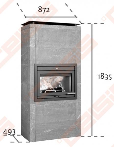 Komplektas Jøtul FS 165 (872 x 1835 x 493). Apdaila iš steatito su ugniakuru Jøtul I 530 FL, dekoratyviniu rėmu ir pelenų dėže Paveikslėlis 2 iš 5 300559000013