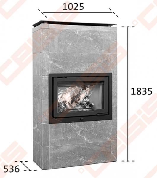 Komplektas Jøtul FS 166 (1025 x 1835 x 536). Apdaila iš steatito su ugniakuru Jøtul I 570 FL, dekoratyviniu rėmu ir pelenų dėže Paveikslėlis 2 iš 6 300559000014