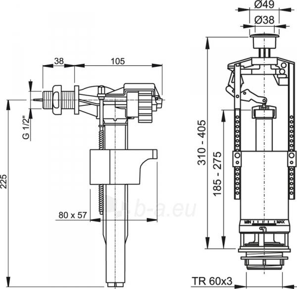 Komplektas mechanizmų klozeto bakeliui su stop funkcija SA 2000 Paveikslėlis 2 iš 2 270740000052