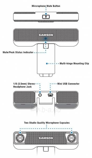 Kondensatorinis mikrofonas SAMSON Go Mic Connect USB Paveikslėlis 6 iš 6 310820004978