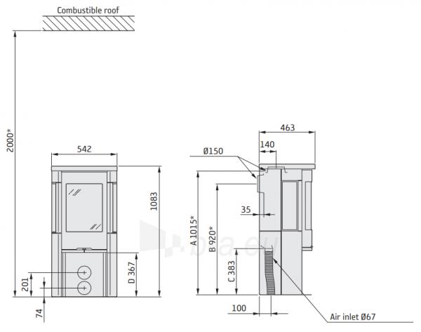 Krosnelė Contura 556T Style pilka sp., su muilo akmeniu (komplektas: 298081, 803376) Paveikslėlis 2 iš 2 310820254683