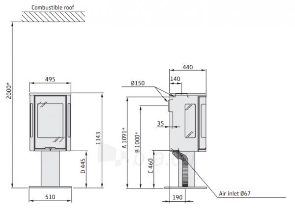 Krosnelė Contura 586:1 Style, juoda, ketiniu viršumi ir durelėmis, trimis stiklais Paveikslėlis 2 iš 2 310820254437