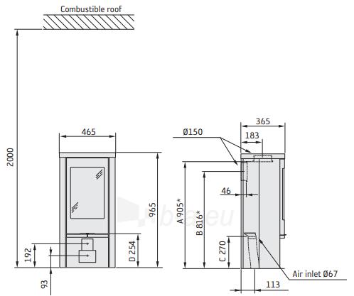Krosnelė CONTURA 820T Style pilka sp. su muilo akmens apdaila Paveikslėlis 2 iš 2 310820254580