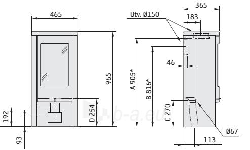 Krosnelė CONTURA 820TG Style juoda sp. su muilo akmens apdaila, tonuotas stiklas Paveikslėlis 2 iš 2 310820254581