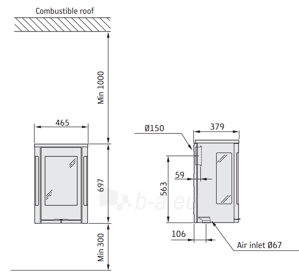 Krosnelė Contura C856GW:2 STYLE, balta, montuojama ant sienos (998856, 998660, 203149) Paveikslėlis 2 iš 2 310820254747