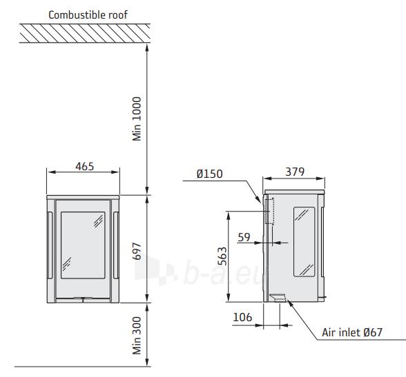 Krosnelė Contura C856GW:3 STYLE, juoda, montuojama ant sienos (998855, 203150) Paveikslėlis 2 iš 2 310820254745