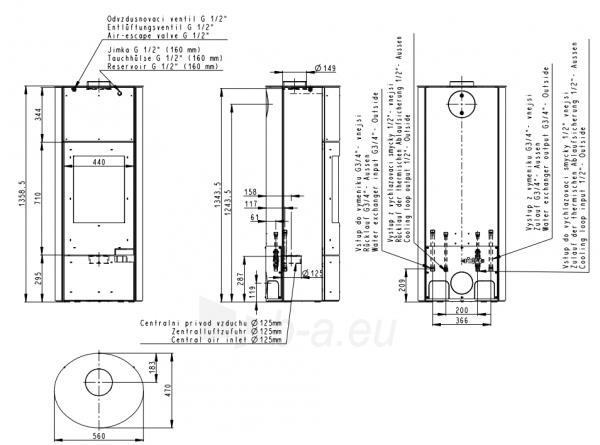 Krosnelė Romotop Lugo 03W su plieno apdaila ir šilumokaičiu Paveikslėlis 3 iš 3 310820254456