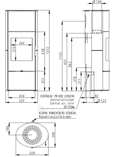 Krosnelė židinys akumuliacinė Romotop Evora 04A su smėlio akmens apdaila Paveikslėlis 2 iš 3 310820236015