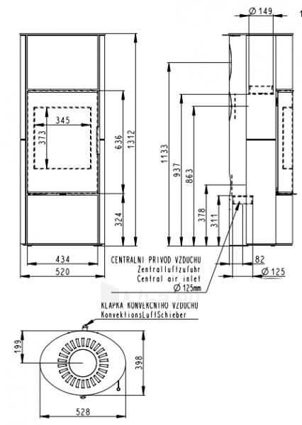Oven židinys akumuliacinė Romotop Laredo 04A su smėlio akmens apdaila Paveikslėlis 2 iš 2 310820236017