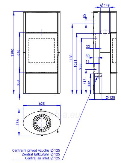 Krosnelė židinys akumuliacinė Romotop Ovalis G 02A su muilo akmens apdaila Paveikslėlis 2 iš 2 310820236011
