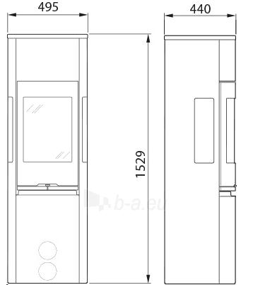Krosnelė židinys Contura 596G:1 Style, juoda, aukštos durys su ketiniu viršumi (998171,698965,998550) Paveikslėlis 1 iš 2 310820236050