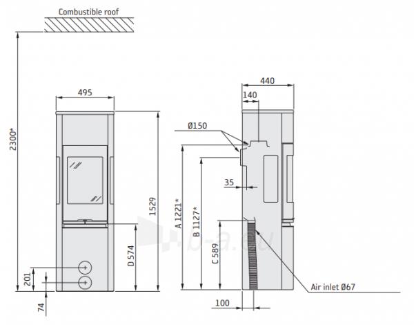 Oven židinys Contura 596T STYLE, pilka sp., aukštomis durimis, muilo akmuo (komplektas: 998235, 803377, 298615, 698963) Paveikslėlis 2 iš 2 310820236061