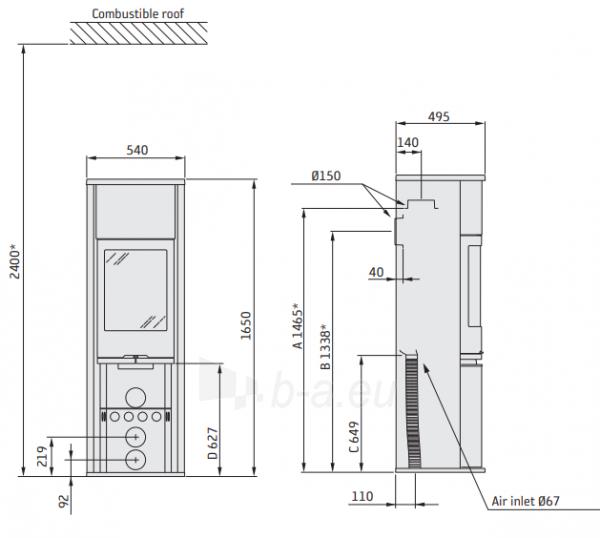 Oven židinys Contura C690:1 Style, korpusas pilkos spalvos, kompl (798408, 398272, 398201) Paveikslėlis 2 iš 2 310820236054