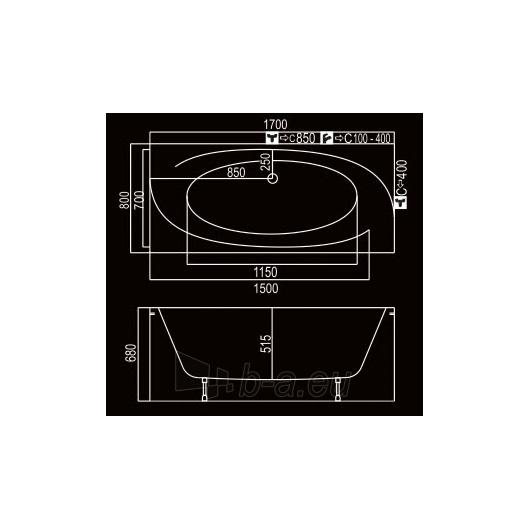 KYMA vonia Audra 170x80 Paveikslėlis 2 iš 3 270716000782