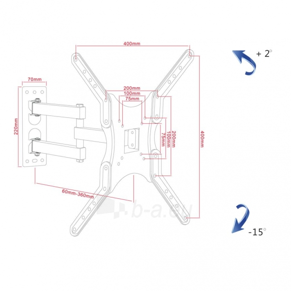 Laikiklis ART Holder AR-61A to TV LED/LCD 19-56 30KG vertical/horizontal adjustment Paveikslėlis 9 iš 9 310820157801