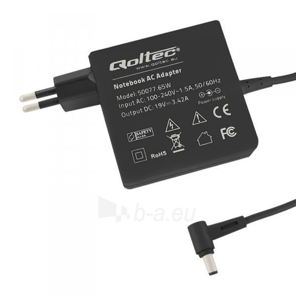 Laptop AC maitinimo šaltinis Qoltec 65W | 3.42A | 19V | 5.5x2.5 Paveikslėlis 1 iš 4 310820027390