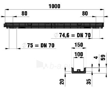 Latakas su cinkuonto plieno juostinėmis grotelėmis RECYFIX STANDARD 100, tipas 60 SW 75/9 Paveikslėlis 2 iš 2 237510000153