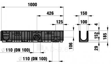 Latakas su cinkuoto plieno grotelėmis RECYFIX STANDARD 100 Paveikslėlis 2 iš 2 237510000154