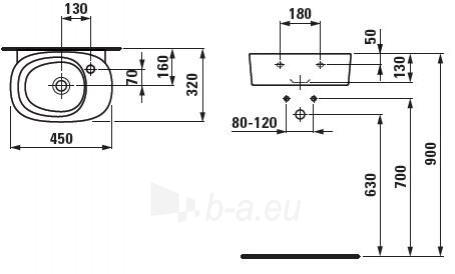 Laufen Mimo Mažas praustuvas 45 x 32 cm, su 1 anga maišytuvui dešinėje Paveikslėlis 1 iš 2 270711000487
