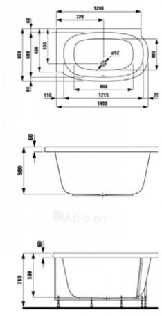 LAUFEN MIMO vonia 140x80 cm, montuojama į kairį kampą su dešininiu formos paneliu, su rėmu Paveikslėlis 1 iš 3 270716000476
