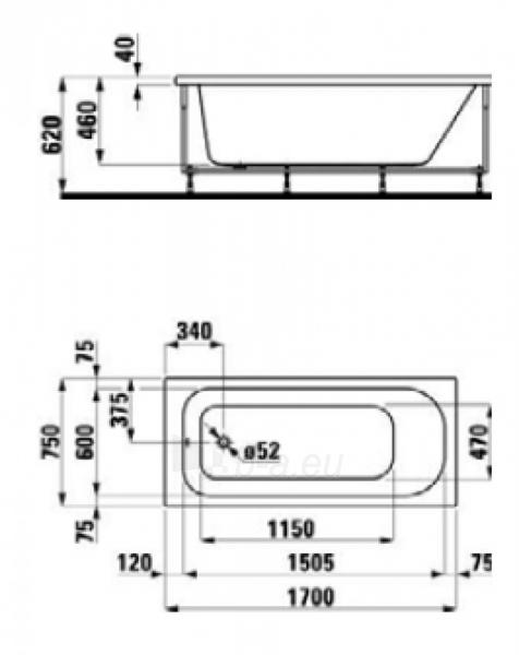 LAUFEN SOLUTIONS įleidžiama vonia 170x75 cm, sanitarinis akrilas Paveikslėlis 1 iš 1 270716000489