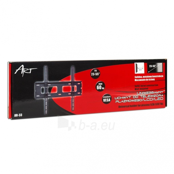 LCD/LED/PLAZMA televizoriaus laikiklis ART AR-33 | Juodas| 23-55 | 60kg | VESA Paveikslėlis 4 iš 4 250226200558