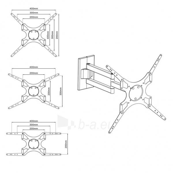LCD/LED televizoriaus laikiklis ART AR-61 |19-37 | 25kg| vert./horiz. reg. Paveikslėlis 4 iš 5 250226200555