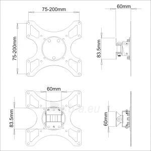 LCD televizoriaus laikiklis ART AR-06XL |17-37 |Juodas |35kg |VESA Paveikslėlis 2 iš 4 250226200547