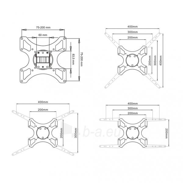 LCD televizoriaus laikiklis ART AR-06XL |17-37 |Juodas |35kg |VESA Paveikslėlis 3 iš 4 250226200547