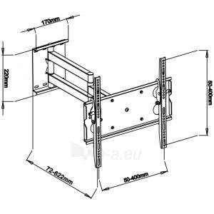 LCD televizoriaus laikiklis ART AR-20B | Juodas| 32-50 | 80kg Paveikslėlis 2 iš 6 250226200549
