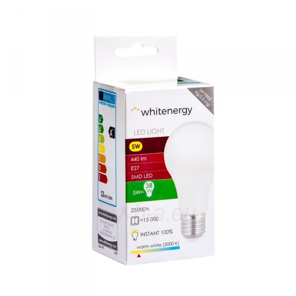 LED lemputė Whitenergy | E27 | 10 SMD2835 | 5W |230V šilta balta | A60 Paveikslėlis 5 iš 6 310820103039