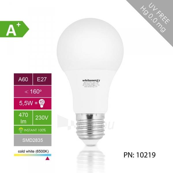 LED lemputė Whitenergy | E27 | 6 SMD 2835 | 5.5W |230V| pienas|šalta balta | A60 Paveikslėlis 4 iš 6 310820049368