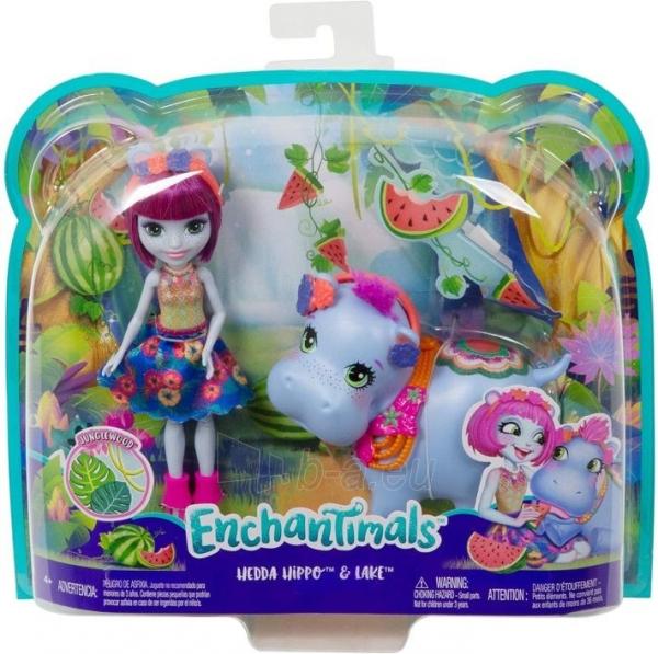 Lėlė GFN56 Enchantimals Hedda Hippo Doll & Lake Animal Figure MATTEL Paveikslėlis 4 iš 6 310820252838