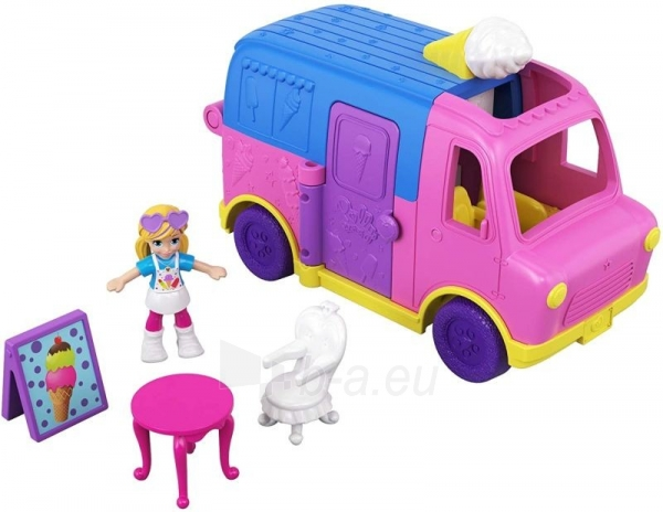 Lėlė GGC40 Mattel Figures set Polly Pocket Pollyville Ice Cream Truck Paveikslėlis 1 iš 6 310820230609