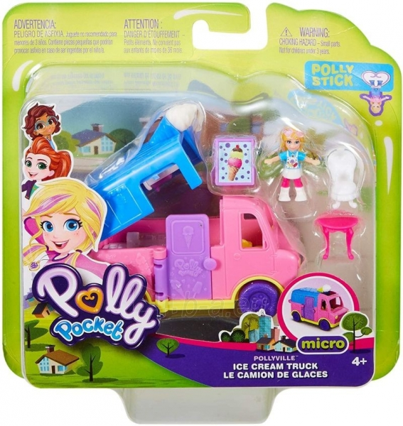 Lėlė GGC40 Mattel Figures set Polly Pocket Pollyville Ice Cream Truck Paveikslėlis 2 iš 6 310820230609