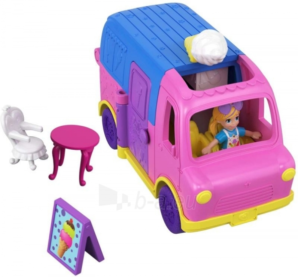Lėlė GGC40 Mattel Figures set Polly Pocket Pollyville Ice Cream Truck Paveikslėlis 3 iš 6 310820230609