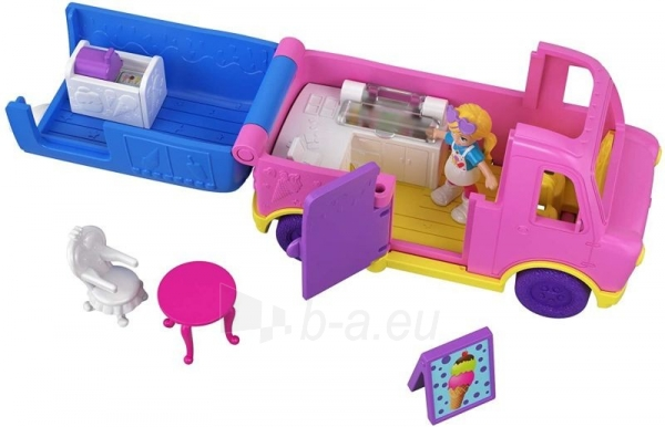 Lėlė GGC40 Mattel Figures set Polly Pocket Pollyville Ice Cream Truck Paveikslėlis 5 iš 6 310820230609