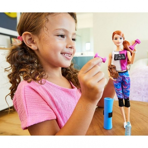 Lėlė GJG57 Barbie Fitness Doll, Red-Haired, with Puppy and 9 MATTEL Paveikslėlis 2 iš 6 310820252836