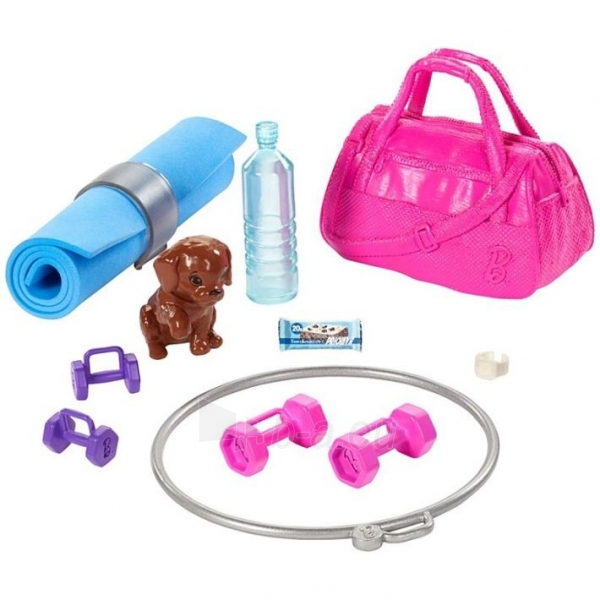 Lėlė GJG57 Barbie Fitness Doll, Red-Haired, with Puppy and 9 MATTEL Paveikslėlis 4 iš 6 310820252836