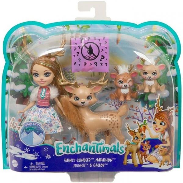 Lėlė GNP17 / GJX43 Enchantimals Rainey Reindeer Doll & Family MATTEL Paveikslėlis 4 iš 6 310820252911