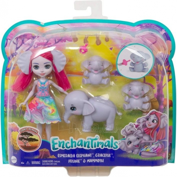 Lėlė GTM30 / GJX43 Enchantimals Savanna Esmeralda Elephant Paveikslėlis 3 iš 6 310820252909