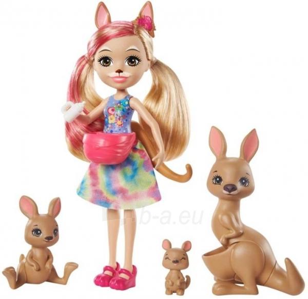 Lėlė GTM31 / GJX43 Enchantimals Sunny Savanna Kamilla Kangaroo Doll with Kangaroo Family Pet MATTEL Paveikslėlis 5 iš 6 310820252912
