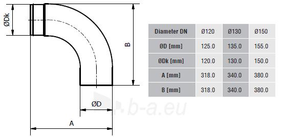 Lenkta alkūnė - žema KG150/90-CZ2/N Paveikslėlis 2 iš 2 310820161616