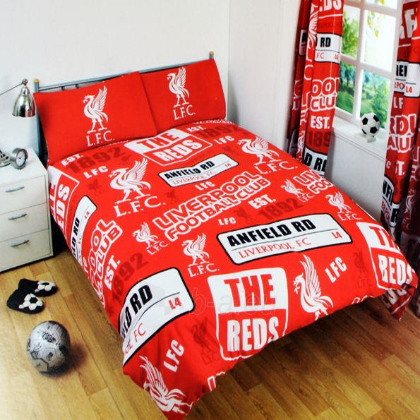 Liverpool F.C. dvigulės patalynės komplektas (Su pavadinimu) Paveikslėlis 2 iš 2 251009001529